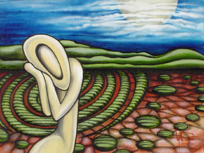 Crop Circles, oil on canvas, by Lynn Marie Greaves